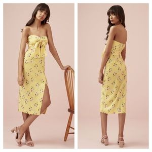 FINDERS KEEPERS Limoncello Strapless Midi Dress